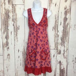 Free People | Red & Purple Floral Babydoll Dress